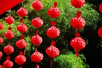 Chinese lanterns hanging in a row, Emerald Valley, Huangshan, Anhui Province, China