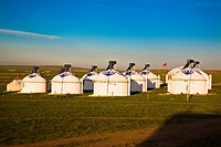 Yurts on a landscape, Inner Mongolia, China