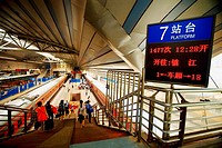 Information board at the railway station, Beijing Railway Station, Beijing, China