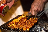 Close_up of a person's hand sprinkling spice on roasted food, Nanjing, Jiangsu Province, China