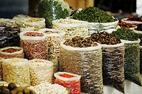 Sacks of herbs and spices at a market stall, Tai'an, Shandong Province, China
