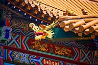 Sculpture on the roof of a temple, Da Zhao Temple, Hohhot, Inner Mongolia, China