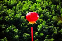Chinese lantern over trees, Emerald Valley, Huangshan, Anhui Province, China