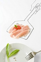 Prosciutto and tomato on drawing of spatula
