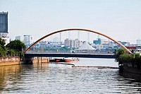 Suspension bridge over a river, Shamian Island, Guangzhou, Guangdong Province, China