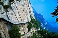 Staircase along a cliff, Shaolin Monastery, Mt Song, Henan Province, China