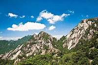 Clouds over a mountain range, Huangshan, Anhui province, China