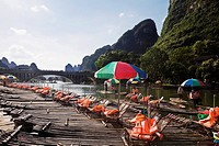 Tourist resort in a river, Guilin Hills, XingPing, Yangshuo, Guangxi Province, China