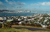 New Zealand _ North Island _ Auckland _ Waitemayta Victoria Harbor view from Mt Devonport _ Auckland City in backgroud