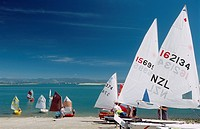 New Zealand _ South Island _ Nelson, sailboats at beach