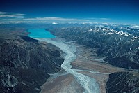 New Zealand _ South Island _ Aorangi _ Lake Pukaki _ Burnett mountains left side _ Ben Ohau range right side