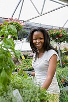 African woman shopping in garden nursery
