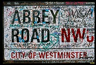 England _ London _ Maybelone district _ Beatles tour _ Abbey road _ notivce board