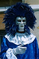 Italy _ Venice _ blue Volto mask with feathers _ Carnival
