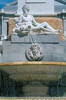 Spain _ Madrid _ Plaza de Oriente _ the fountain statue of Neptune