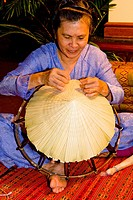 Vietnam _ The South _ The Delta of Mekong _ Can Tho _ Craft industry _ Conical hat fabrication