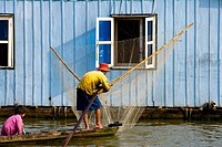 Vietnam _ The South _ The Delta of Mekong _ Chau Doc _ Floating houses _ Fish culture