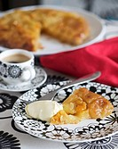 Tarte Tatin with clotted cream and hot chocolate