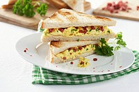 Scrambled egg and salami sandwiches