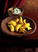 Half_moon_shaped pasties & quark with mint & walnuts Arab cuisine