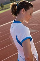 Female athlete on running track
