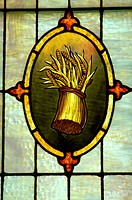 Sheaf of wheat on stained glass window
