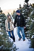 Young couple walking between Christmas trees