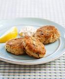 Crab Cakes with Tartar Sauce and Lemon