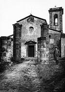 italia, toscana, barberino val d´elsa, facciata della pieve di sant´appiano, 1920_30