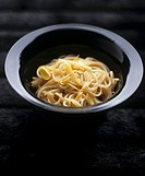 Spaghetti with leeks and miso