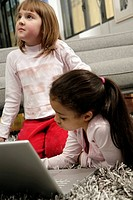 little girls with laptop