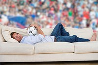 Man daydreaming about soccer match