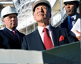 Businessmen inspecting construction site