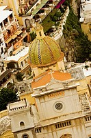High angle view of a church in a town, Chiesa di Santa Maria Assunta, Positano, Amalfi Coast, Salerno, Campania, Italy