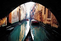 Gondola and boats in a canal, Grand canal, Venice, Veneto, Italy