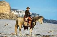 A cowboy out for a ride in the snow, Shell, Wyoming, USA