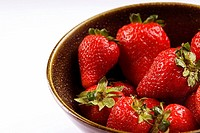 Close_up of a bowl of strawberries