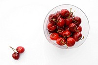 High angle view of cherries in a bowl