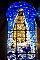 Virgin Mary painting on a stained glass, Convento De San Antonio De Padua, Izamal, Yucatan, Mexico