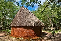 Thatched roof house surrounded by trees, Chichen Itza, Yucatan, Mexico