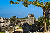 Old ruins of a castle, Zona Arqueologica De Tulum, Cancun, Quintana Roo, Mexico
