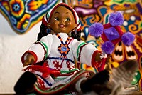 Close_up of a Huichol doll, Real De Catorce, San Luis Potosi, Mexico