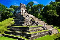 Tourists at old ruins of a temple, Templo De La Cruz, Palenque, Chiapas, Mexico