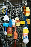 Fishing Buoys & Net in Rockport, Cape Ann, Greater Boston Area, Massachusetts, USA