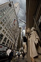 Statue in front of Chrysler building, Manhattan, NYC, USA