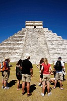 Tourists and pyramids, Chichen Itza, Yucatan, Mexico