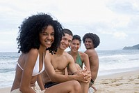 Multi_ethnic friends at beach