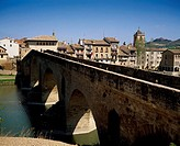 Medieval bridge, Puente la Reina. Way of St. James, Navarre, Spain