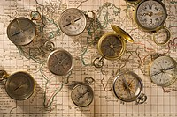 Compasses on a map