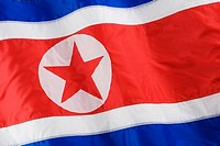 Close up of North Korean flag